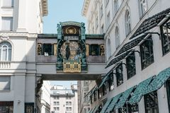 Ankeruhr zegar w Wiedeń Zdjęcie Stock