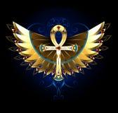 Or Ankh avec des ailes Photographie stock