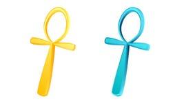 Ankh the egyptian original symbol. Golden and azur blue ankh key Stock Image