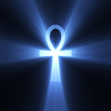 Ankh Egyptian symbol of life light flare. Ankh in ancient Egypt as symbol of life (Egyptian Cross) with powerful blue light halo. Extended flares for cropping Royalty Free Stock Photography