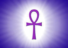 Ankh Hieroglyph With Light Rays On Violet Background Stock Image