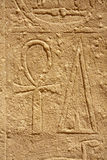 Ankh sign. Ancient Egyptian bas-reliefs, Karnak Temple, Egypt, Luxor Royalty Free Stock Photos