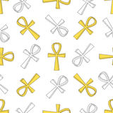 Ankh symbol pattern. Vector egyptian cross pattern isolated on white Royalty Free Stock Images