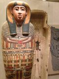 Ankhshepenwepet's Inner Coffin and Canonic Jars at Metropolitan Museum of Art. Royalty Free Stock Image