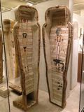 Ankhshepenwepet's Inner Coffin and Canonic Jars at Metropolitan Museum of Art. Stock Images