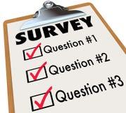 Ankiety słowa listy kontrolnej schowka głosowania klientów informacje zwrotne Fotografia Stock