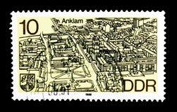 Anklam, villes de secteur dans le nord du serie de la RDA, vers 1988 Images libres de droits