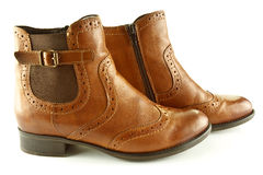 Ankle boots. A closeup of tan leather ladies ankle boots stock images