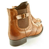 Ankle boots. A closeup of tan leather ladies ankle boots Stock Photography