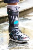 Ankle Brace - Aircast Flat Foot PTTD Brace, Aircast,Boot adult`s walker, Foot Braces, Foot compression sleeve, Rehabilitation at. Home, Valgus deformity of legs royalty free stock photography