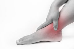 Ankle injury in humans .ankle pain,joint pains people medical, mono tone highlight at ankle Stock Photography