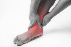Ankle injury in humans .ankle pain,joint pains people medical, mono tone highlight at ankle stock image