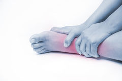 Ankle injury in humans .ankle pain,joint pains people medical, mono tone highlight at ankle stock photos
