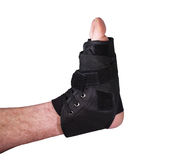 Ankle injury in tied laced cast Stock Images
