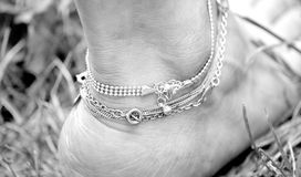 Ankle jewelry. stock images