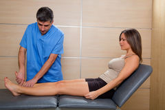 Ankle mobilization therapy of doctor man to patient woman. Ankle joint mobilization therapy of doctor men to patient women in hospital Royalty Free Stock Images