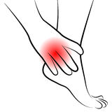 Ankle pain. Vector illustration of ankle pain Royalty Free Stock Photography