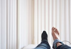 Point of view shot of ankle sprain and electrotherapy. Ankle sprain and electrotherapy and rehabilitacion Stock Image