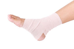 Ankle sprain. Ankle support with elastic bandage stock images