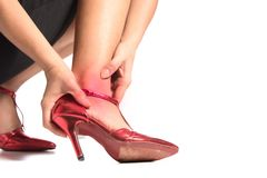 Ankle sprain. On white background, young woman pain with inflammation right ankle, woman using high heels shoes and pain from royalty free stock images