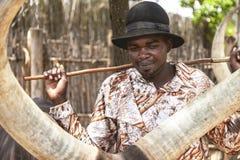 ANKOLE WATUSİ MUSEUM, RWANDA, AFRİCA - SEPTEMBER 8, 2015: Unidentified man. Royalty Free Stock Photography