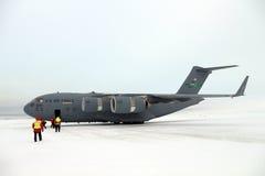 Ankomma i Antarktis på en C17 Royaltyfri Fotografi