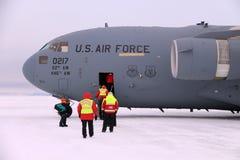 Ankomma i Antarktis på en C17 Royaltyfria Bilder