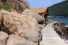 Ankomma på den Nangyuan ön, Thailand arkivfoton