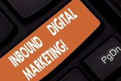 Ankommande Digital för handskrifttext marknadsföring Begrepp som digitalt betyder van vid beståndsdelar för att förbinda med kons arkivbilder