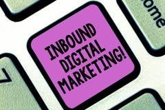 Ankommande Digital för ordhandstiltext marknadsföring Affärsidé för van vid beståndsdelar digitalt att förbinda med konsumenttang arkivbild