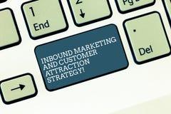 Ankommande marknadsföring för ordhandstiltext och kunddragningsstrategi Affärsidé för Promote ditt produkttangentbord arkivfoton