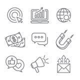 Ankommande marknadsföringsvektorsymboler med tillväxt, roi, appell till handling, Arkivfoto