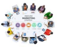 Ankommande reklamfilm för annonsering för marknadsföringsstrategi som brännmärker Co arkivbild
