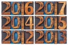 Ankommende Jahre 2012-2017 Stockbild