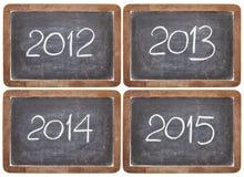 Ankommende Jahre auf Tafel Stockbild