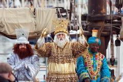 Ankomst av de tre vise männen i Barcelona Fotografering för Bildbyråer