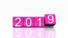 Ankomst av det nya året i 3D - 2019 arkivfilmer