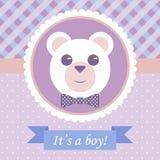 ankomsten behandla som ett barn text för bilden för pojkekortramen Royaltyfri Bild