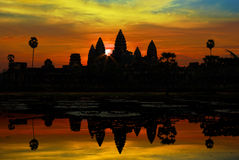 Ankor Wat at sunrise royalty free stock photo