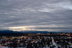 Ankringstadssikt för soluppgång Royaltyfri Bild