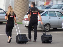 Ankunftssportteams zum Olympiapark RUSSE 2014 Sochis Autodrom FORMEL-1 GRANDPRIX Lizenzfreie Stockbilder