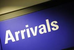 Ankunftszeichen Lizenzfreies Stockbild
