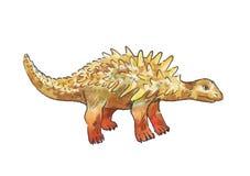 Ankylosaurus Απεικόνιση Watercolor του δεινοσαύρου Στοκ Φωτογραφίες