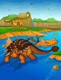 Ankylosaurus στο υπόβαθρο ποταμών Στοκ Εικόνες