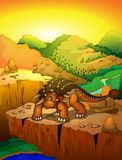 Ankylosaurus bonito dos desenhos animados com fundo da paisagem Fotos de Stock Royalty Free