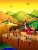 Ankylosaurus bonito e Anzu dos desenhos animados com fundo da paisagem Foto de Stock Royalty Free