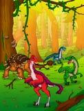 Ankylosaurus bonito e Anzu dos desenhos animados no fundo da floresta ilustração stock