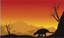Ankylosaurus and brachiosaurus in fields scenery silhouette Royalty Free Stock Photography