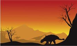 Ankylosaurus and brachiosaurus in fields scenery silhouette Royalty Free Stock Photography