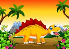 Ankylosaurus cartoon with landscape background Stock Photo